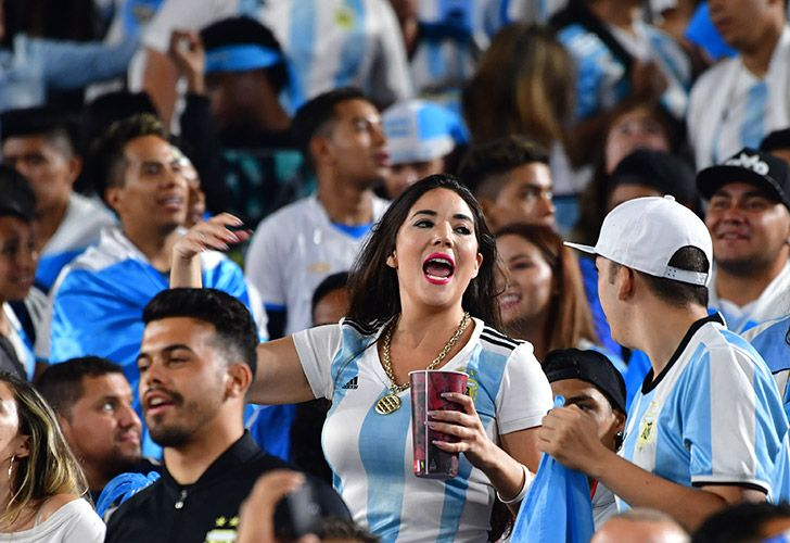 In this photo taken on September 7, Argentina fans celebrate victory over Guatemala during their international friendly matchat the Los Angeles Coliseum.