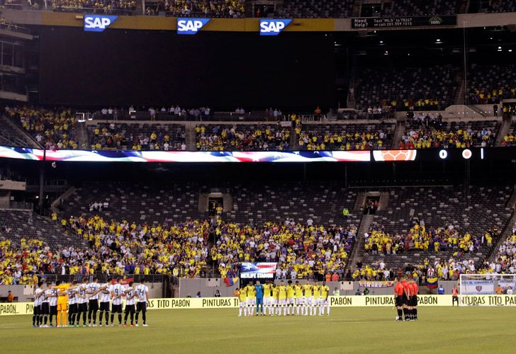 Argentina and Colombia players pause for a minute of silence in remembrance of the victims of the September 11, 2001, terrorist attacks prior to an international friendly match on Tuesday, September 11, 2018, in East Rutherford. The teams drew 0-0.