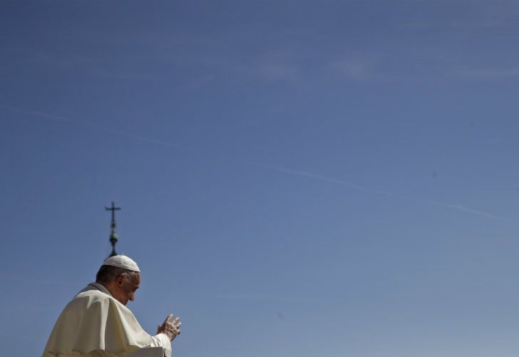 Pope Francis arrives in St. Peter's Square at the Vatican for his weekly audience.