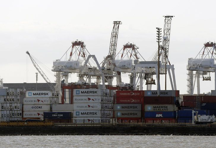 Containers are seen at a port in Buenos Aires.