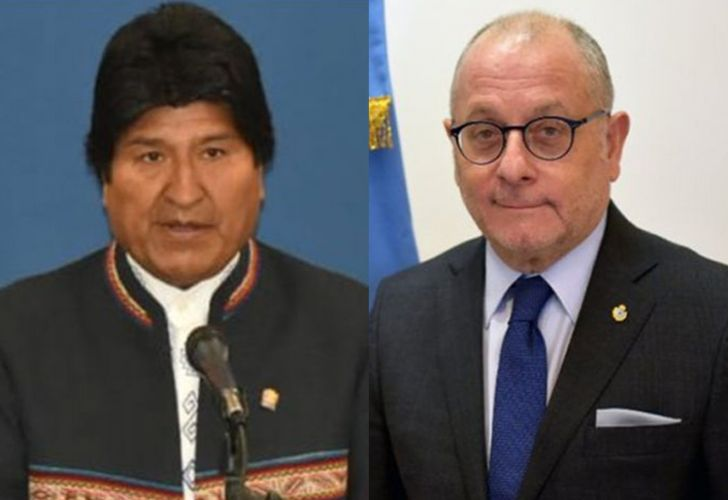 Bolivia President Evo Morales (left) and Argentina's Foreign Minister Jorge Faurie.