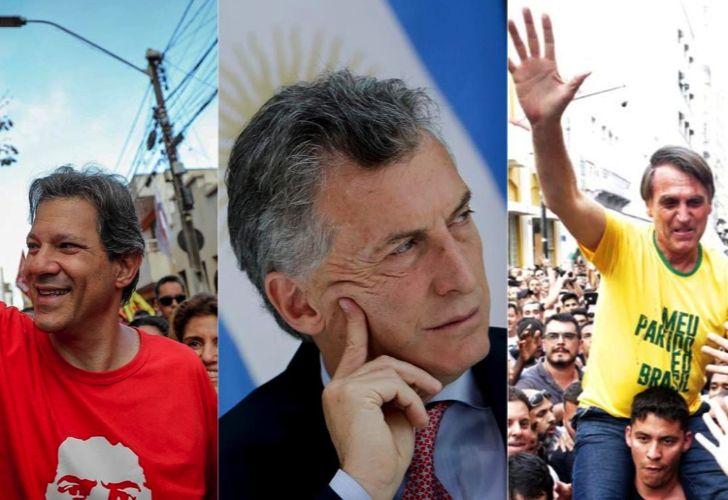 Fernando Haddad (left), Argentina's President Mauricio Macri (centre), Jair Bolsonaro (right).