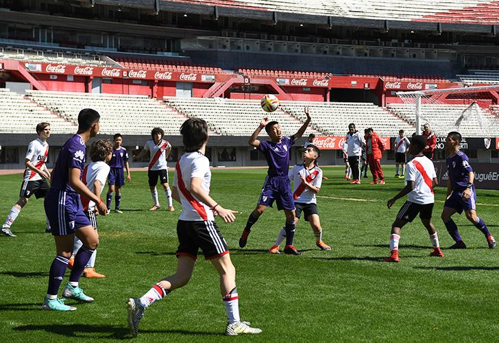 Young footballers of Thai team Wild Boars -who were rescued from the Tham Luang cave in Thailand past July- play a football match against River Plate Youth Team at Monumental stadium, in Buenos Aires, in the sidelines of the Buenos Aires 2018 Youth Olimpic Games on October 7, 2018.