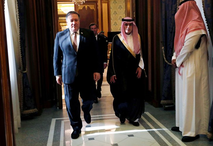 US Secretary of State Mike Pompeo walks with Saudi Foreign Minister Adel al-Jubeir in Riyadh, Saudi Arabia, on Tuesday.