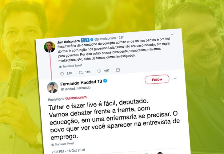 In an exchange late Tuesday, Fernando Haddad tried to taunt Jair Bolsonaro into engaging in TV debates, hoping to close the big lead in the polls enjoyed by the far-right candidate.