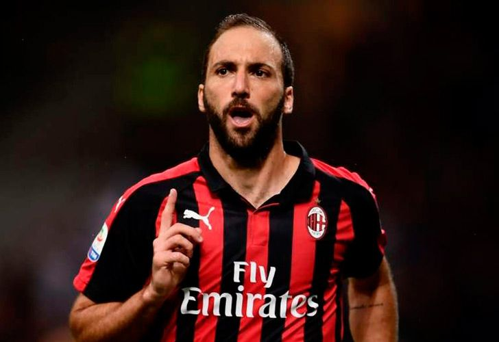 Gonzalo Higuaín in his new colours: the red and black of AC Milan.