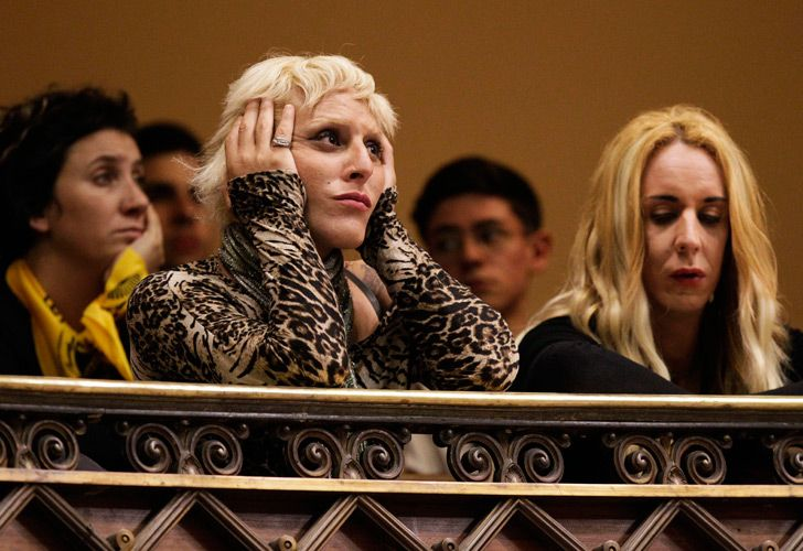 Activists listen to legislators during a session in which the Integral law for Trans People in Montevideo, Uruguay.