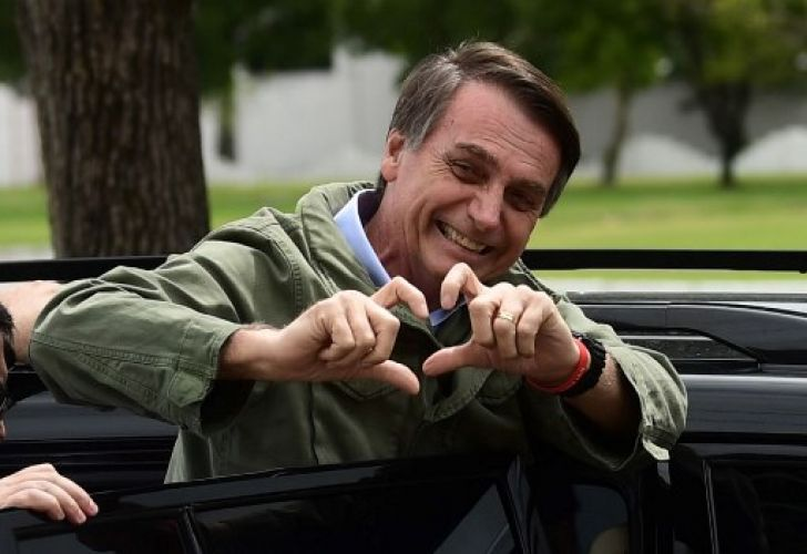 Jair Bolsonaro, far-right lawmaker and presidential candidate for the Social Liberal Party (PSL), gestures to supporters during the second round of the presidential elections, in Rio de Janeiro, Brazil on October 28, 2018.