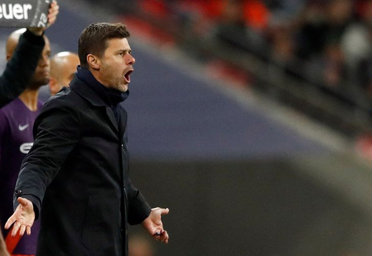 Tottenham manager Mauricio Pochettino reacts on the sidelines as he watches his players during the English Premier League soccer in London, England.