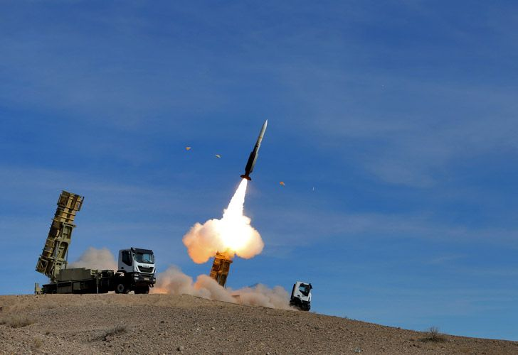 A Sayyad 2 missile is fired by the Talash air defense system during drills in an undisclosed location in Iran.