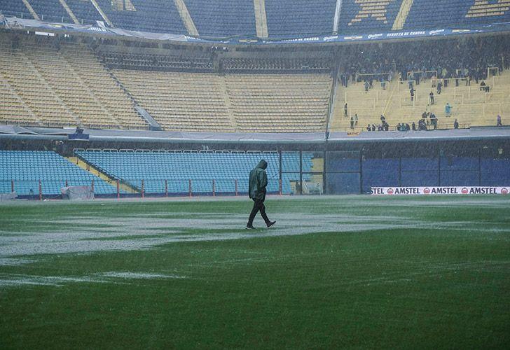 View of La Bombonera Stadium under heavy rain, taken this afternoon.
