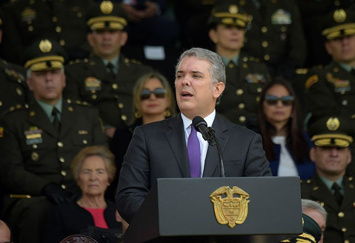 Colombian President Iván Duque delivers a speech during the 127th anniversary of the Colombian Police at the General Santander police school in Bogotá, on November 6, 2018.