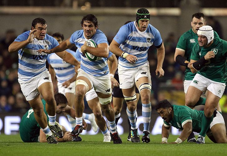 Argentina's Pablo Matera runs with the ball during the rugby union international match between Ireland and Argentina at the Aviva Stadium in Dublin on Saturday, November 10, 2018.