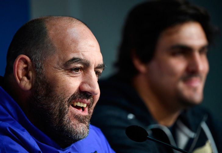 Argentina's head coach Mario Ledesma (left) talks during a press conference with flanker and captain Pablo Matera on November 16, 2018 at the Pierre Mauroy Stadium, in Lille, on the eve of the rugby union Test match against France.