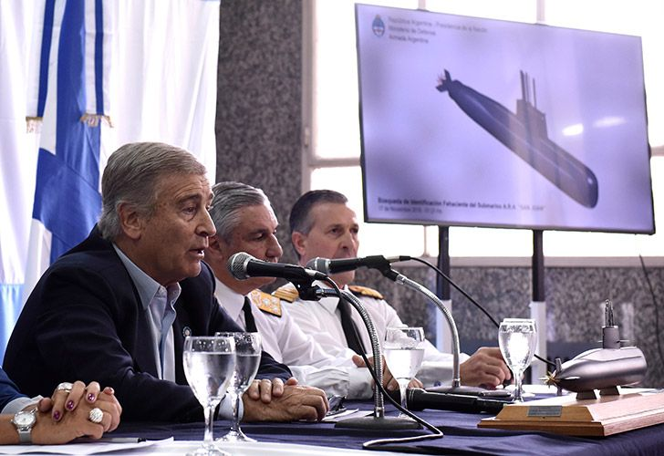 Defence Minister Oscar Aguad talks during a press conference in Buenos Aires. The Navy announced early Saturday that they have located the missing submarine ARA San Juan in the Atlantic, a year after it disappeared with 44 crew-members aboard.