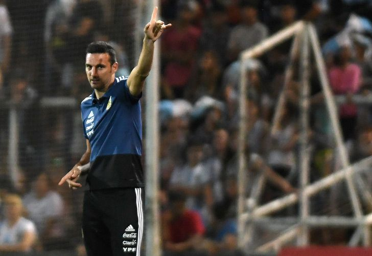 Argentina's interim national team coach Lionel Scaloni gestures during the friendly match against Mexico at the Malvinas Argentinas stadium in Mendoza this week.