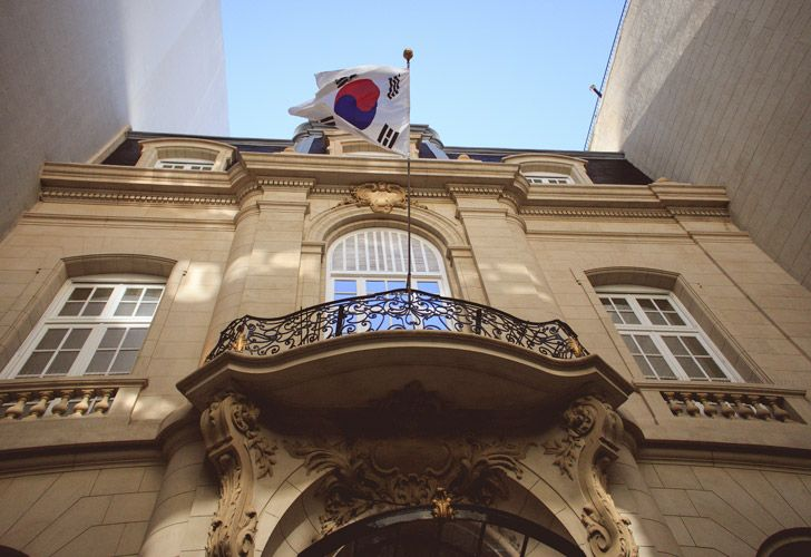The facade of the new South Korean Cultural Centre, at the Palacio Bencich in Retiro.
