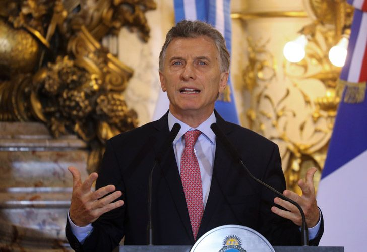 President Mauricio Macri speaks during a press conference at Casa Rosada presidential house in Buenos Aires.