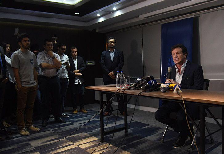 CONMEBOL President Alejandro Domínguez holds a press conference in Luque, near Asunción, Paraguay.