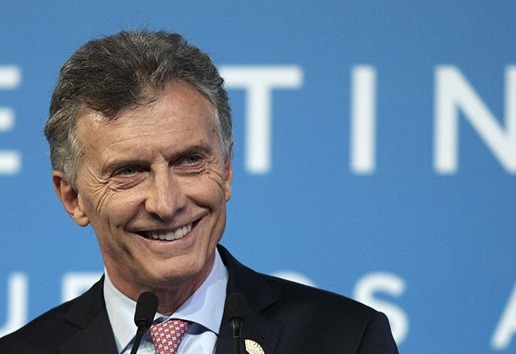 President Mauricio Macri smiles during a press conference in Costa Salguero, at the end of the second day of the G20 Leaders Summit in Buenos Aires today.