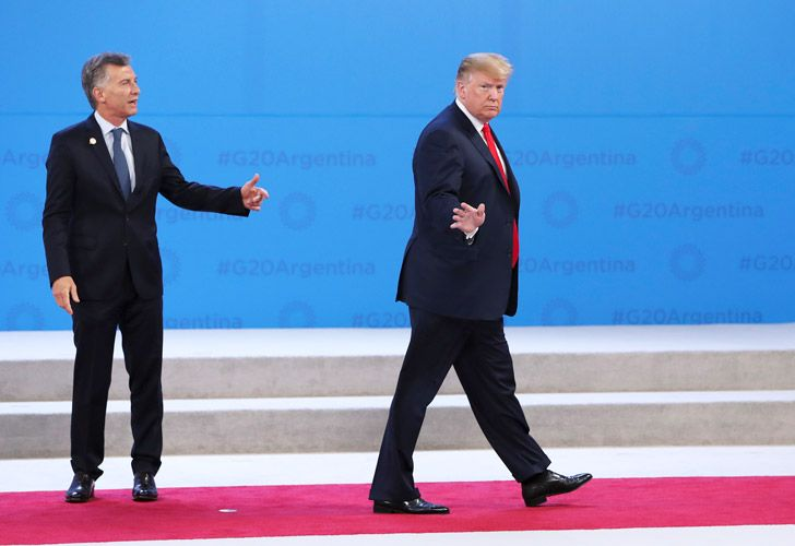 Argentine President Mauricio Macri and US President Donald Trump on Friday at the Costa Salguero Center in Buenos Aires, Argentina.