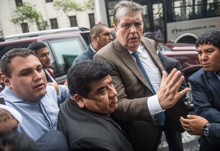 Peruvian former president Alan Garcia arrives at the prosecutor office in Lima on Nov. 15, 2018.