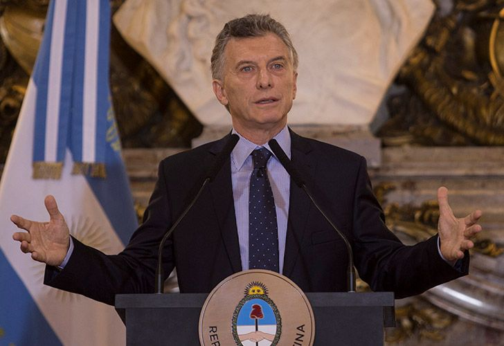 President Mauricio Macri gives a press conference at the Casa Rosada this morning.