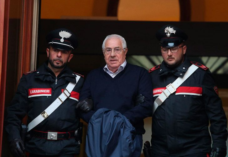 Settimo Mineo, who allegedly took over as the Palermo head of Cosa Nostra, is escorted by Italian Carabinieri police.