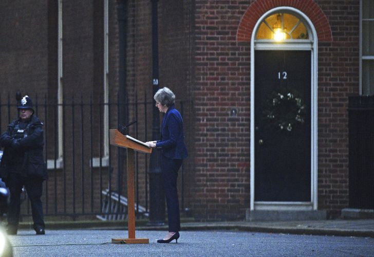Prime Minister Theresa May makes a statement in Downing Street, London, confirming there will be a vote of confidence in her leadership of the Conservative Party.