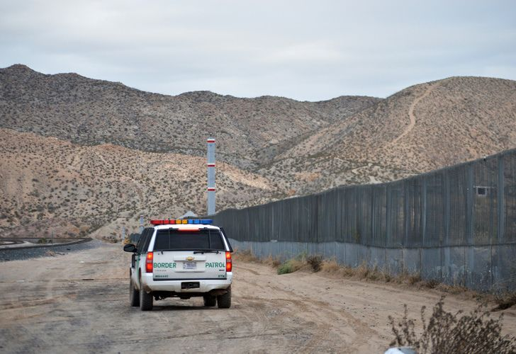 A US Border Patrol agent patrols Sunland Park along the US-Mexico border next to Ciudad Juarez.
