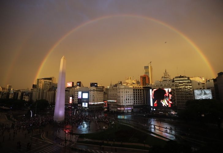 Buenos Aires and its double rainbow in the sky.
