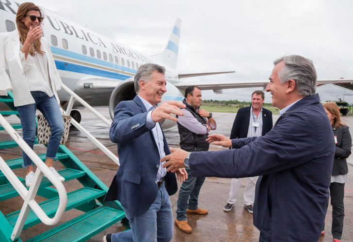President Mauricio Macri is greeted by Governor of Jujuy Gerardo Morales during a visit to the province on Saturday.
