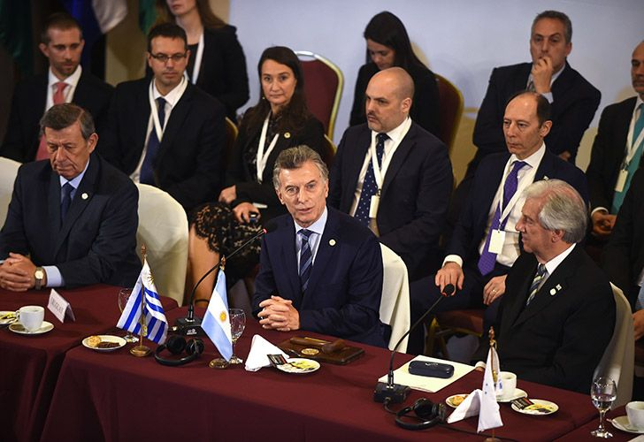President Mauricio Macri addresses fellow members at the Mercosur summit in Montevideo.