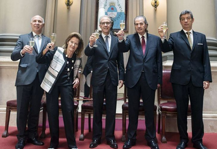Argentina's Supreme Court Justices, from left to right: Ricardo Lorenzetti, Elena Highton de Nolasco, Carlos Rosenkrantz, Carlos Maqueda and Horacio Rosatti.