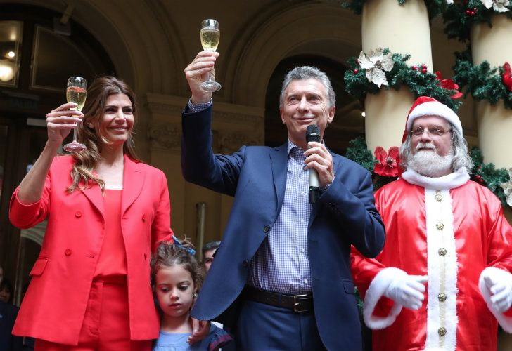 The Macri family celebrating with Santa.