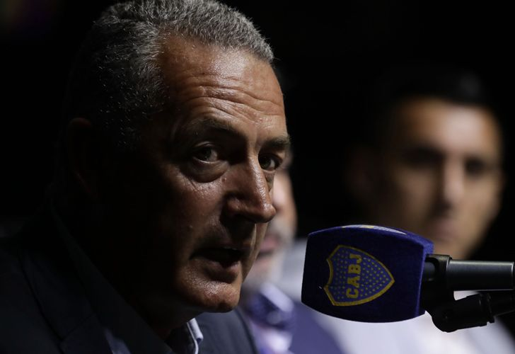 The new coach of Boca Juniors, Gustavo Alfaro, speaks during his presentation at a press conference at La Bombonera.