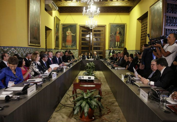 Foreign Ministers of the Lima Group gather for a meeting concerning Venezuela, in Lima, Peru, yesterday.