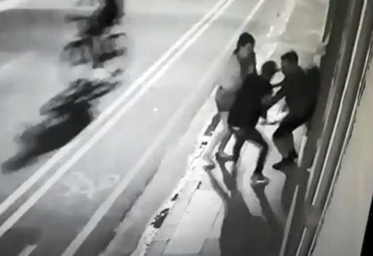 A screenshot of video footage caputring the attack.