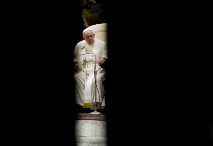 Pope Francis holds his weekly general audience in the Paul VI hall, at the Vatican on Wednesday.