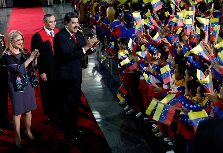 Nicolás Maduro greets supporters after having been sworn into office for a new term.
