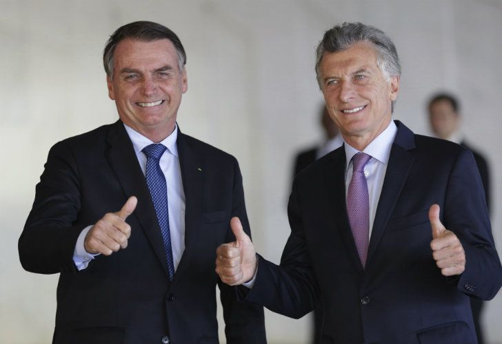Body language between Macri and Bolsonaro suggestst good chemistry.