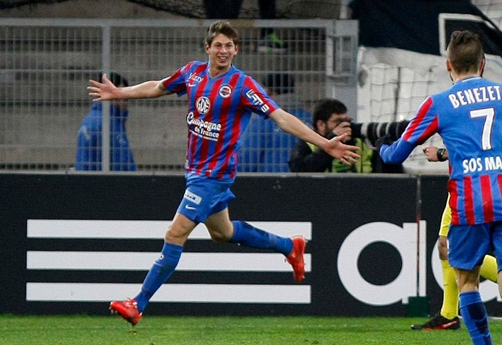 In this 2015 file photo, Emiliano Sala, then of Caen, celebrates scoring a goal.
