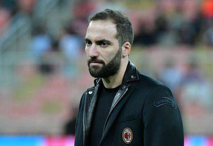Argentine forward Gonzalo Higuaín is seen on the pitch ahead of Supercoppa Italiana final between Juventus and AC Milan at the King Abdullah Sports City Stadium in Jeddah on January 16, 2019.