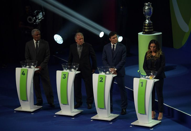 Former footballers Francisco Maturana of Colombia, Zico of Brazil and Javier Zanetti of Argentina and Brazilian footballer Marta take part in the draw of the 2019 Copa America football tournament in Rio de Janeiro, Brazil, on January 24, 2019. The 2019 Copa América will be held in Brazil between June 14 and July 7.