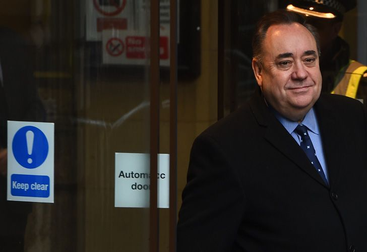 Former Scottish first minister Alex Salmond comes out to address the media outside court in Edinburgh on January 24, 2019, after being charged in a probe over allegations of sexual harassment and attempted rape.