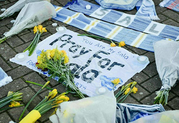 Floral tributes to Emiliano Sala outside Cardiff City's stadium.