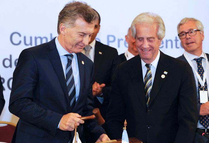 President Mauricio Macri and his Uruguayan counterpart, Tabaré Vázquez.