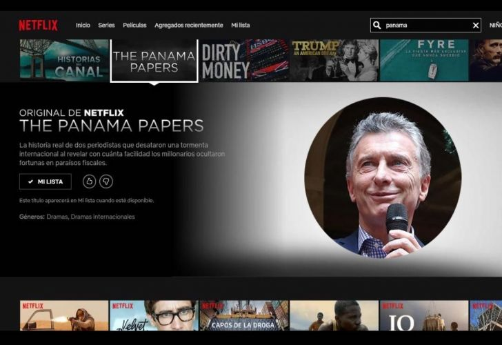 A screenshot of the Netflix series about the Panama Papers, including an imposed photo of President Macri, who appears in the film.