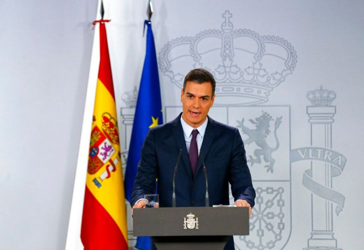 Spain's Prime Minister Pedro Sanchez delivers a statement at the Moncloa Palace in Madrid, Spain, Friday, Feb. 15, 2019. Sanchez has called early general elections for late April, barely a month before European parliamentary elections.