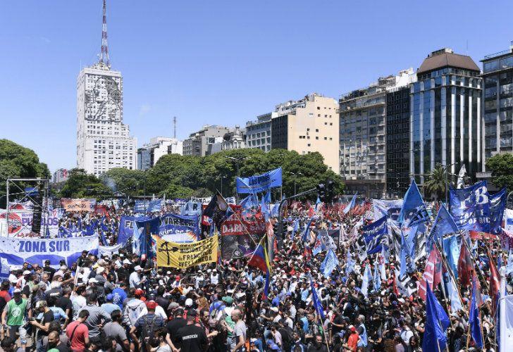 Thousands of demonstrators gather on 9 de Julio on Wednesday.